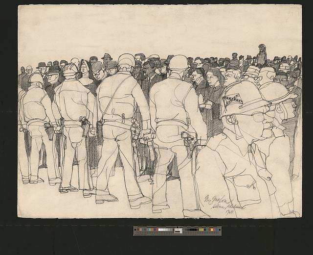 The Confrontation, Selma, Alabama, drawing by John McMahon.