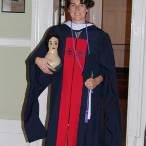 Amanda Berrios, with Marjory, the Grad Room Gourdperson.
