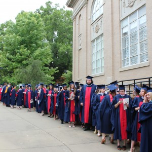 The UM Graduate School lining up for the ceremony.