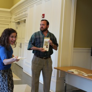 Helpful grad student ushers Kate Wiggins and Frank Kossen