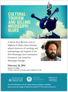 Lecture: Cultural Tourism and Selling Mississippi Blues @ Barnard Observatory, Tupelo Room
